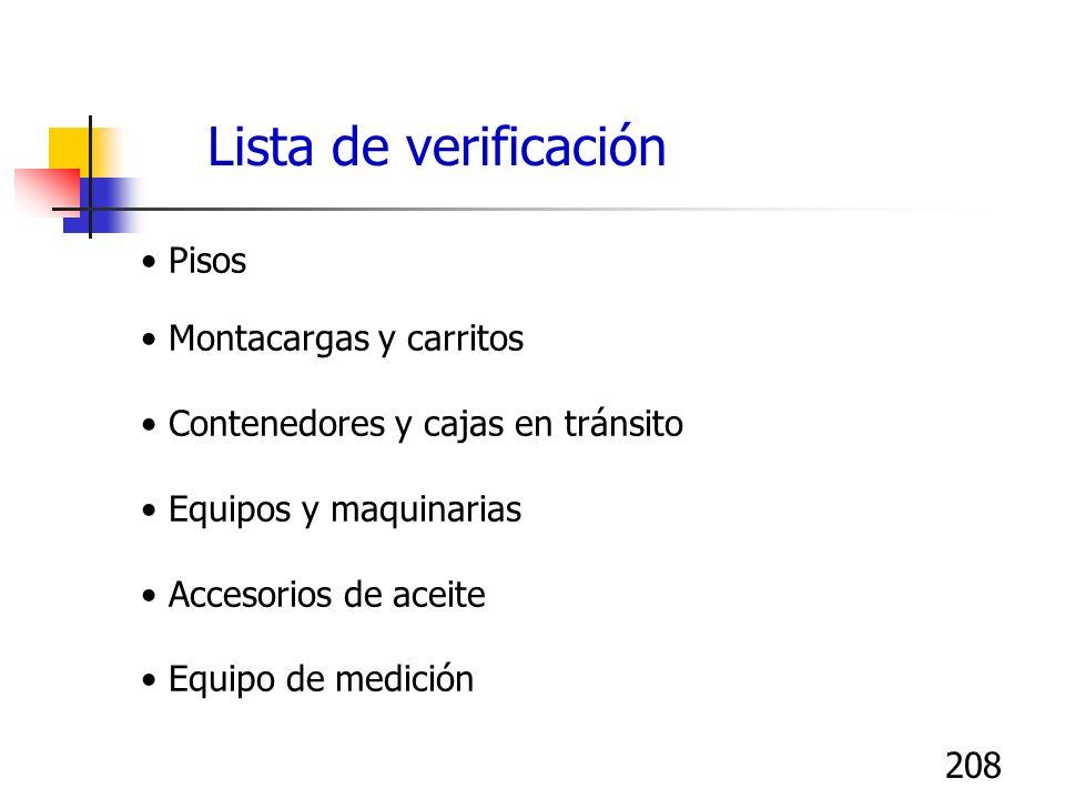 208 Pisos Montacargas y carritos Contenedores y cajas en tránsito Equipos y maquinarias Accesorios de aceite Equipo de medición Lista de verificación