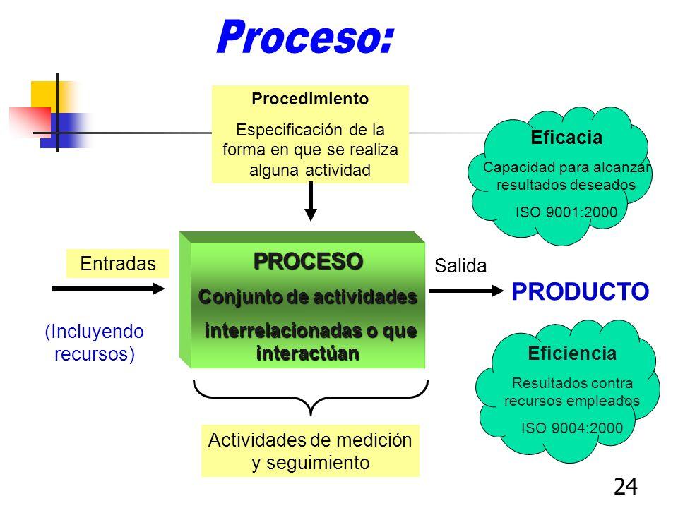 24 Salida PRODUCTO Entradas (Incluyendo recursos) PROCESO Conjunto de actividades interrelacionadas o que interactúan interrelacionadas o que interact