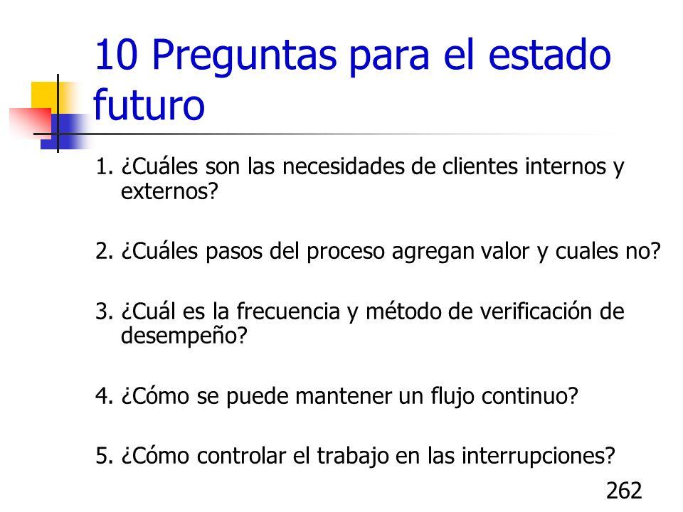 262 10 Preguntas para el estado futuro 1. ¿Cuáles son las necesidades de clientes internos y externos? 2. ¿Cuáles pasos del proceso agregan valor y cu