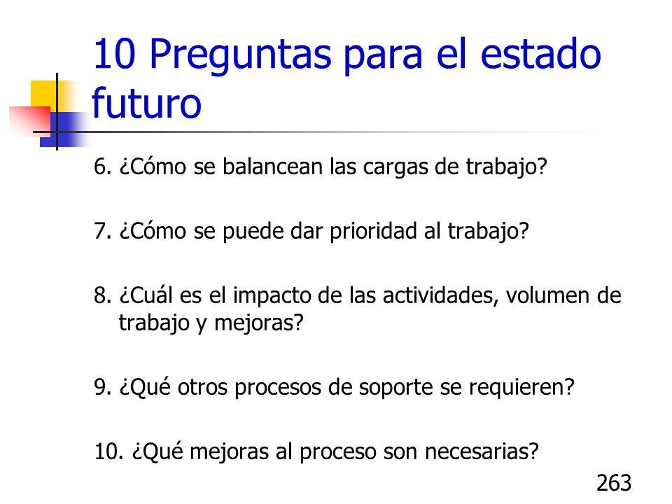 263 10 Preguntas para el estado futuro 6. ¿Cómo se balancean las cargas de trabajo? 7. ¿Cómo se puede dar prioridad al trabajo? 8. ¿Cuál es el impacto