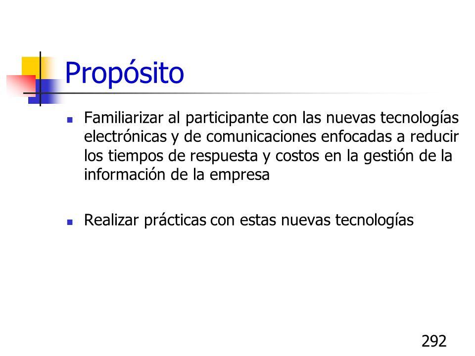 292 Propósito Familiarizar al participante con las nuevas tecnologías electrónicas y de comunicaciones enfocadas a reducir los tiempos de respuesta y