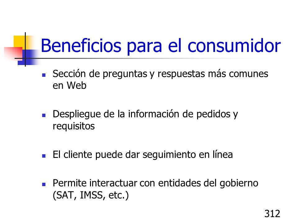 312 Beneficios para el consumidor Sección de preguntas y respuestas más comunes en Web Despliegue de la información de pedidos y requisitos El cliente