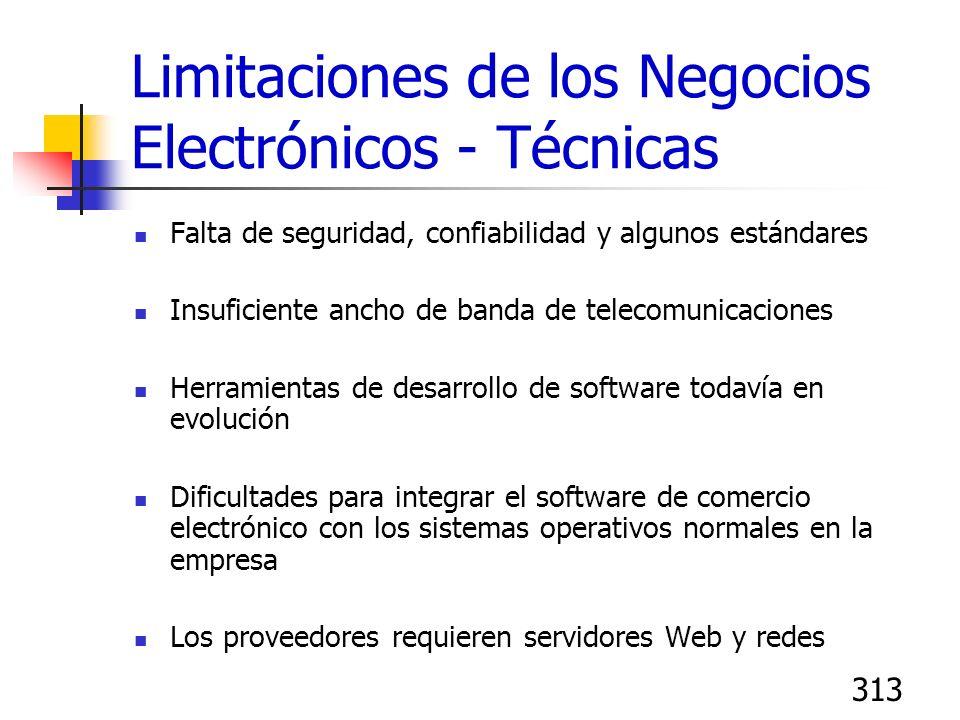 313 Limitaciones de los Negocios Electrónicos - Técnicas Falta de seguridad, confiabilidad y algunos estándares Insuficiente ancho de banda de telecom