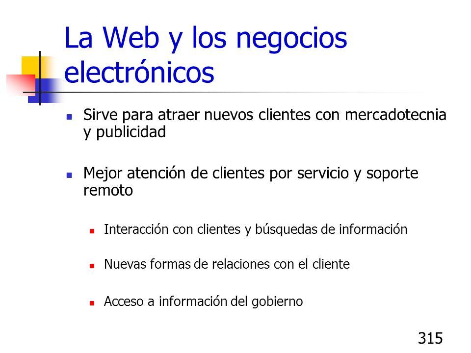 315 La Web y los negocios electrónicos Sirve para atraer nuevos clientes con mercadotecnia y publicidad Mejor atención de clientes por servicio y sopo