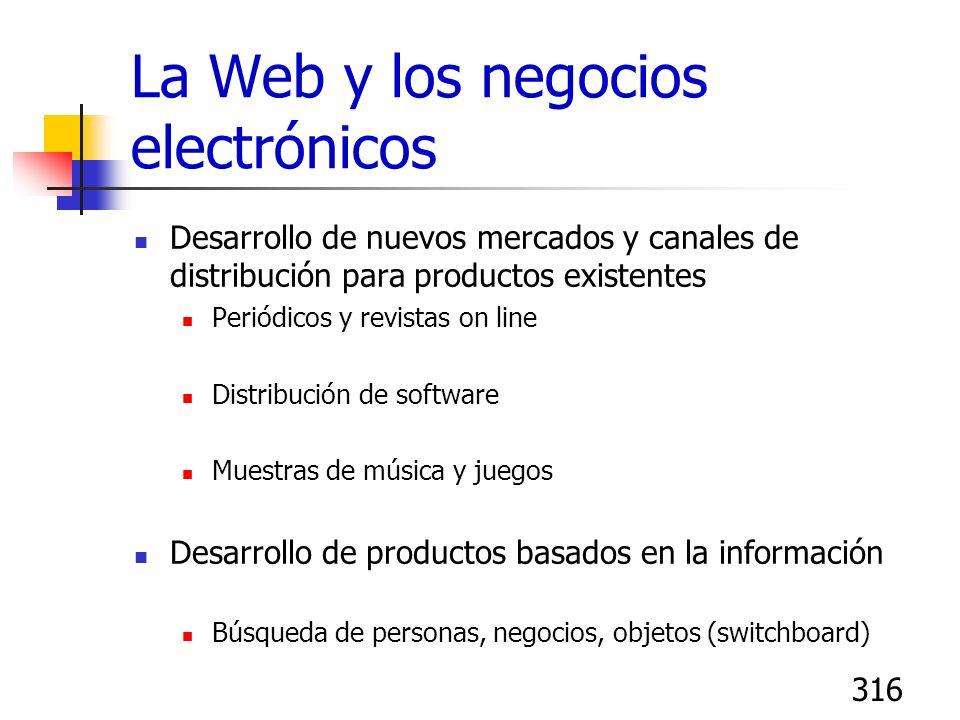 316 La Web y los negocios electrónicos Desarrollo de nuevos mercados y canales de distribución para productos existentes Periódicos y revistas on line