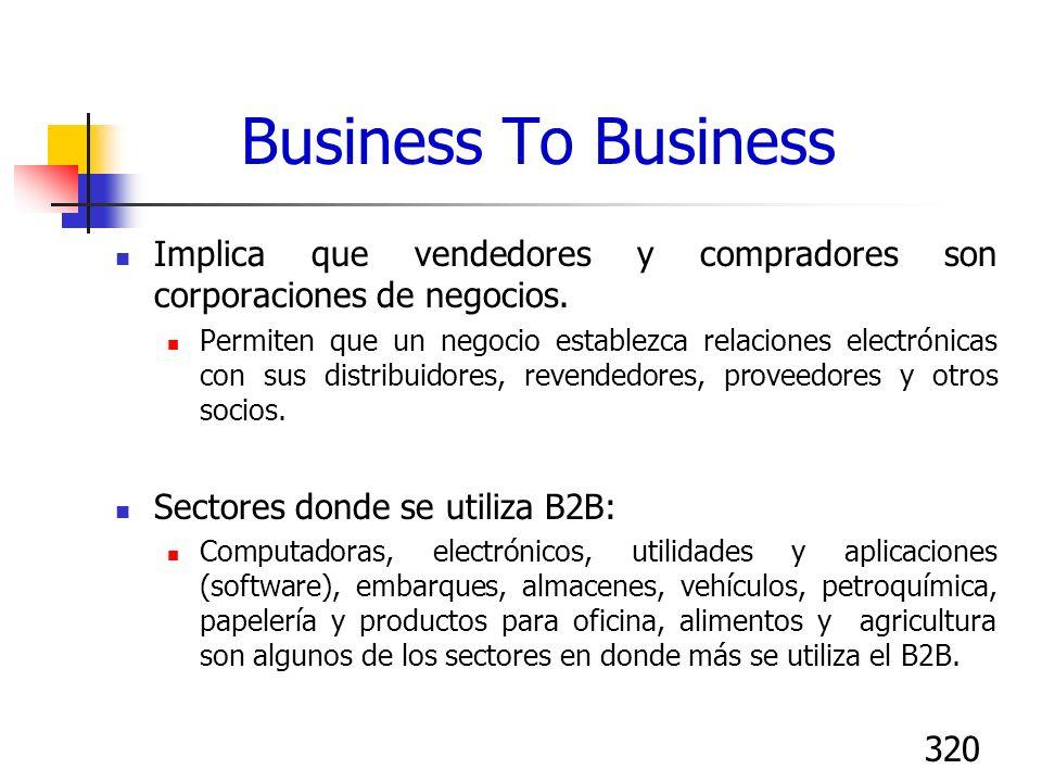 320 Business To Business Implica que vendedores y compradores son corporaciones de negocios. Permiten que un negocio establezca relaciones electrónica