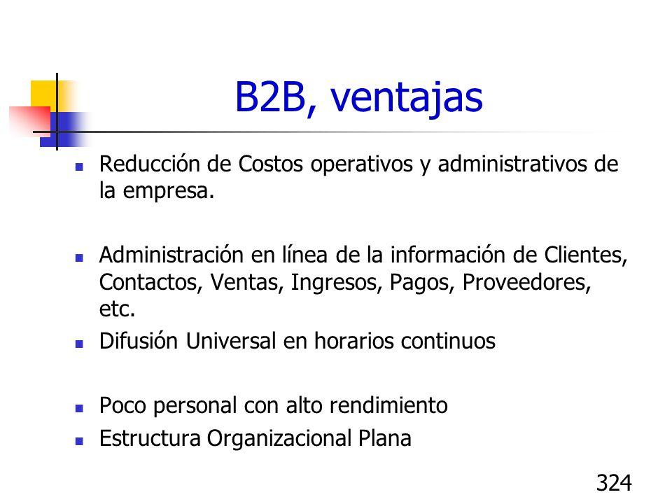 324 B2B, ventajas Reducción de Costos operativos y administrativos de la empresa. Administración en línea de la información de Clientes, Contactos, Ve