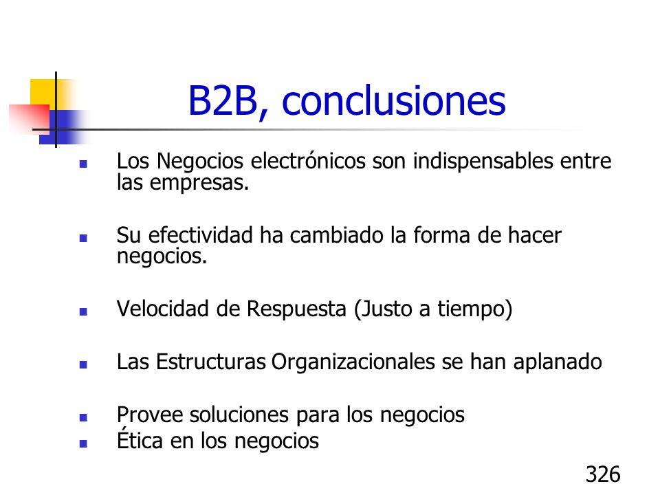 326 B2B, conclusiones Los Negocios electrónicos son indispensables entre las empresas. Su efectividad ha cambiado la forma de hacer negocios. Velocida