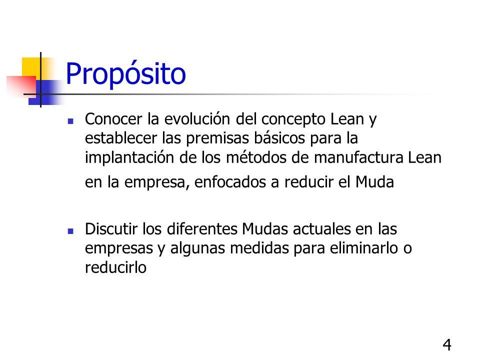 4 Propósito Conocer la evolución del concepto Lean y establecer las premisas básicos para la implantación de los métodos de manufactura Lean en la emp