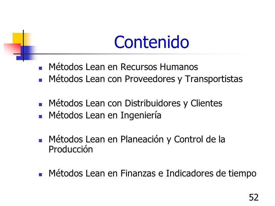 52 Contenido Métodos Lean en Recursos Humanos Métodos Lean con Proveedores y Transportistas Métodos Lean con Distribuidores y Clientes Métodos Lean en