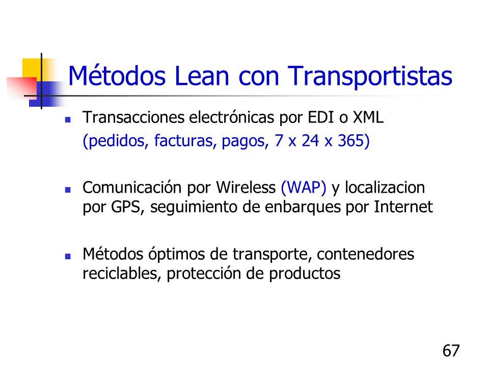 67 Métodos Lean con Transportistas Transacciones electrónicas por EDI o XML (pedidos, facturas, pagos, 7 x 24 x 365) Comunicación por Wireless (WAP) y