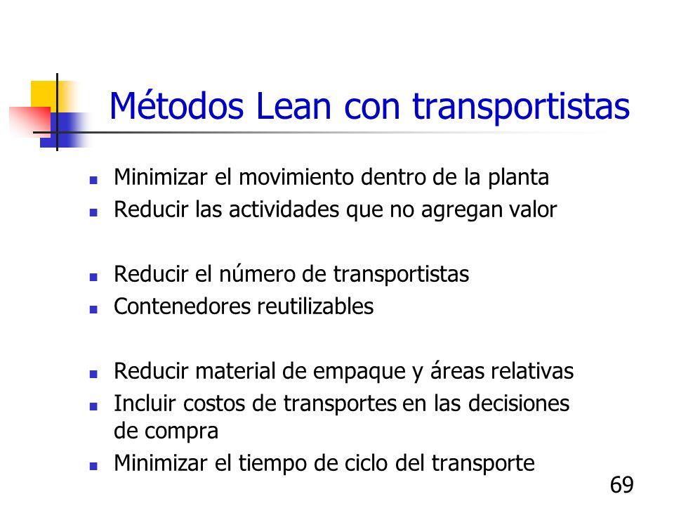 69 Métodos Lean con transportistas Minimizar el movimiento dentro de la planta Reducir las actividades que no agregan valor Reducir el número de trans
