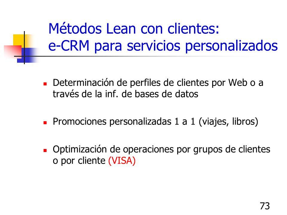 73 Métodos Lean con clientes: e-CRM para servicios personalizados Determinación de perfiles de clientes por Web o a través de la inf. de bases de dato