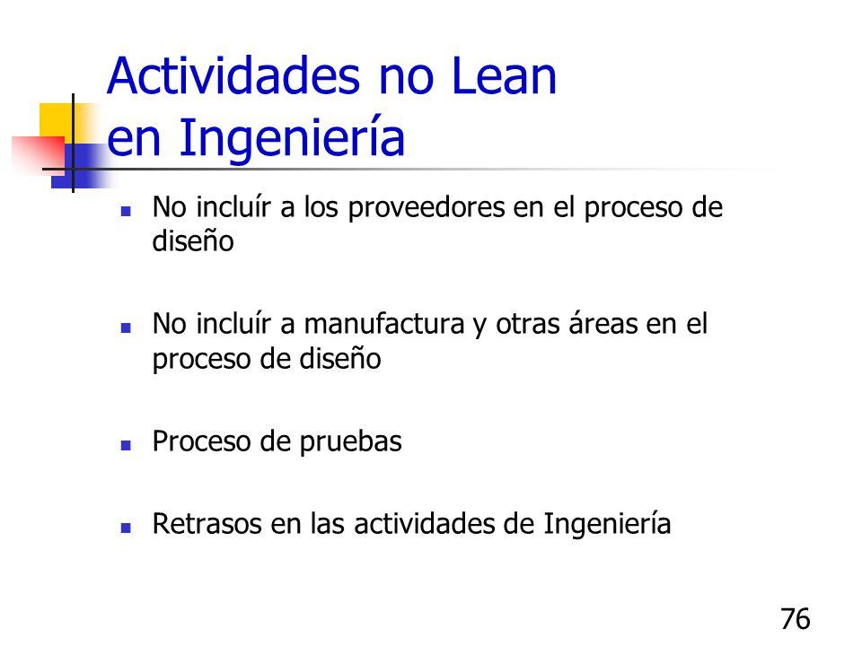 76 Actividades no Lean en Ingeniería No incluír a los proveedores en el proceso de diseño No incluír a manufactura y otras áreas en el proceso de dise