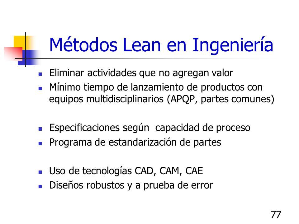 77 Métodos Lean en Ingeniería Eliminar actividades que no agregan valor Mínimo tiempo de lanzamiento de productos con equipos multidisciplinarios (APQ