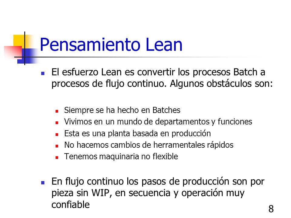 8 Pensamiento Lean El esfuerzo Lean es convertir los procesos Batch a procesos de flujo continuo. Algunos obstáculos son: Siempre se ha hecho en Batch