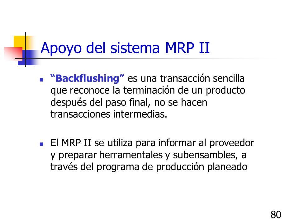 80 Backflushing es una transacción sencilla que reconoce la terminación de un producto después del paso final, no se hacen transacciones intermedias.