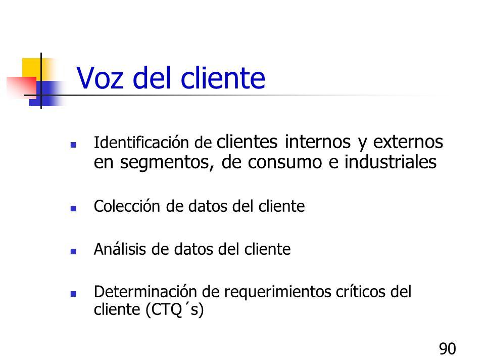 90 Voz del cliente Identificación de clientes internos y externos en segmentos, de consumo e industriales Colección de datos del cliente Análisis de d