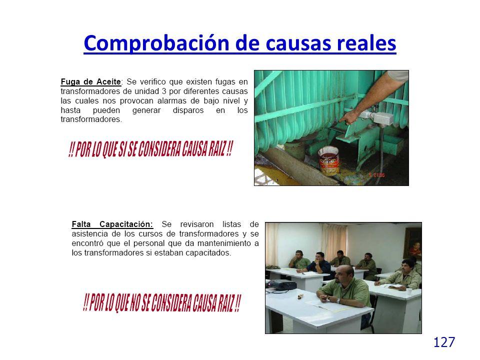 127 Comprobación de causas reales