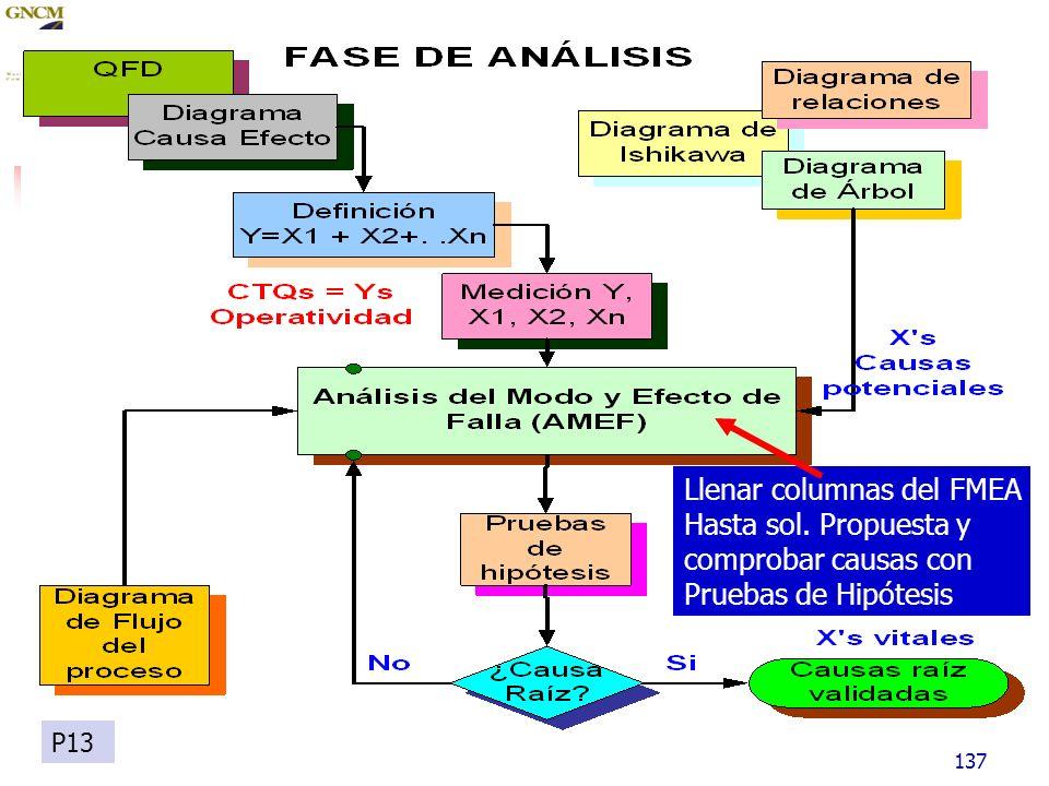 137 Llenar columnas del FMEA Hasta sol. Propuesta y comprobar causas con Pruebas de Hipótesis P13