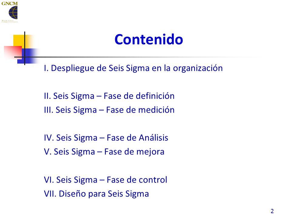 Contenido I.Despliegue de Seis Sigma en la organización II.