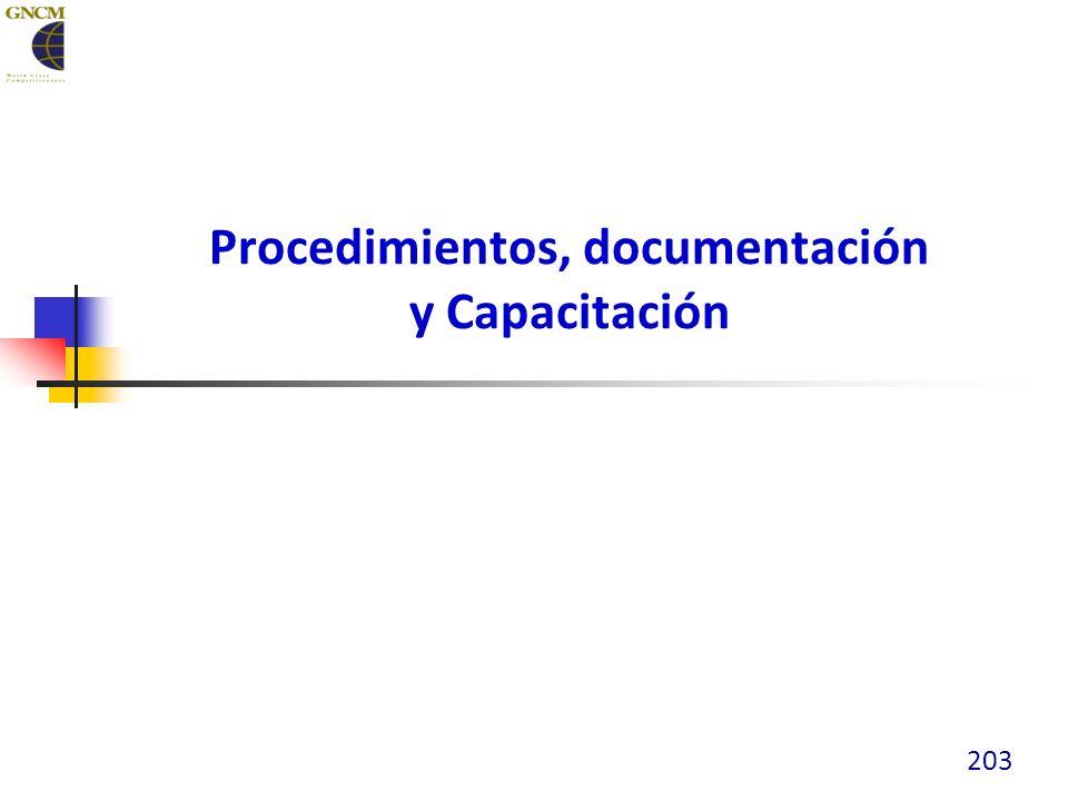 Procedimientos, documentación y Capacitación 203