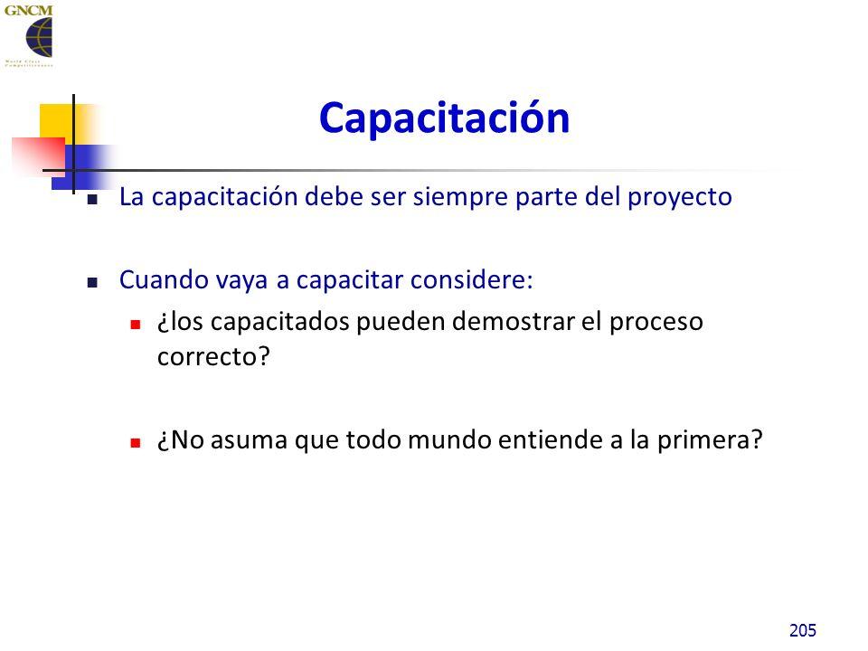 Capacitación La capacitación debe ser siempre parte del proyecto Cuando vaya a capacitar considere: ¿los capacitados pueden demostrar el proceso correcto.