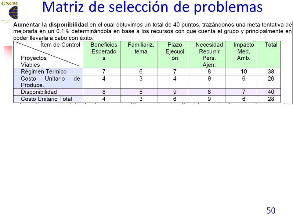 Matriz de selección de problemas 50