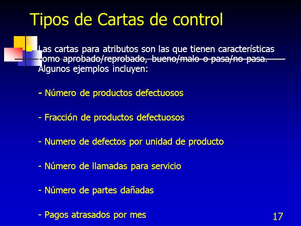 17 Tipos de Cartas de control Las cartas para atributos son las que tienen características como aprobado/reprobado, bueno/malo o pasa/no pasa. Algunos