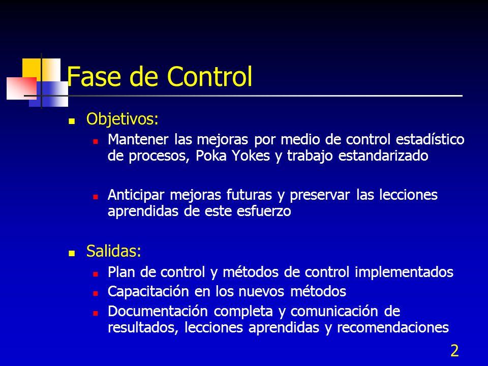 2 Fase de Control Objetivos: Mantener las mejoras por medio de control estadístico de procesos, Poka Yokes y trabajo estandarizado Anticipar mejoras f