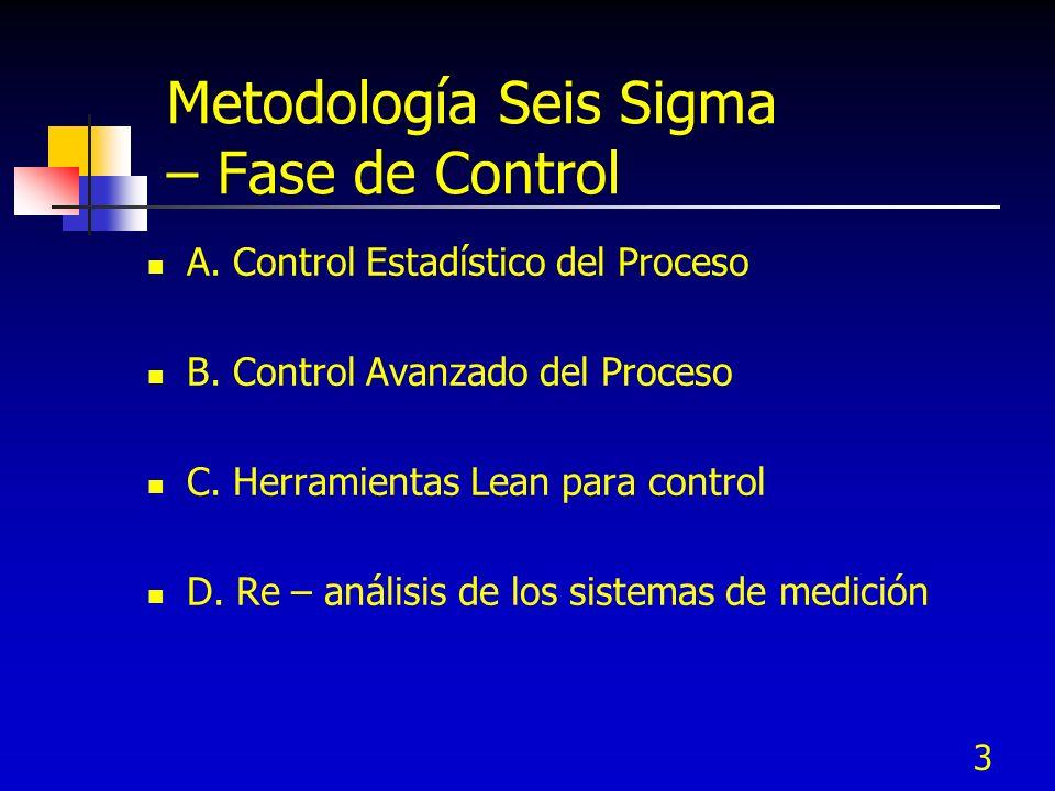 3 Metodología Seis Sigma – Fase de Control A. Control Estadístico del Proceso B. Control Avanzado del Proceso C. Herramientas Lean para control D. Re