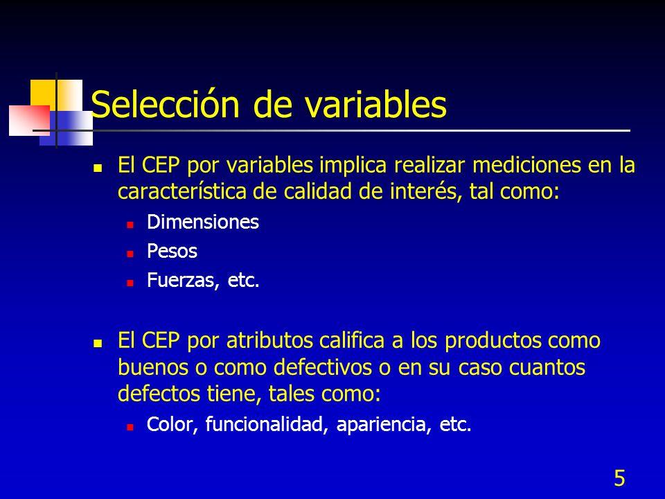 5 Selección de variables El CEP por variables implica realizar mediciones en la característica de calidad de interés, tal como: Dimensiones Pesos Fuer