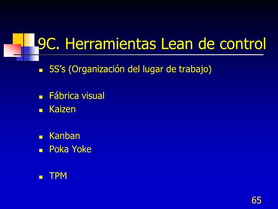 65 9C. Herramientas Lean de control 5Ss (Organización del lugar de trabajo) Fábrica visual Kaizen Kanban Poka Yoke TPM