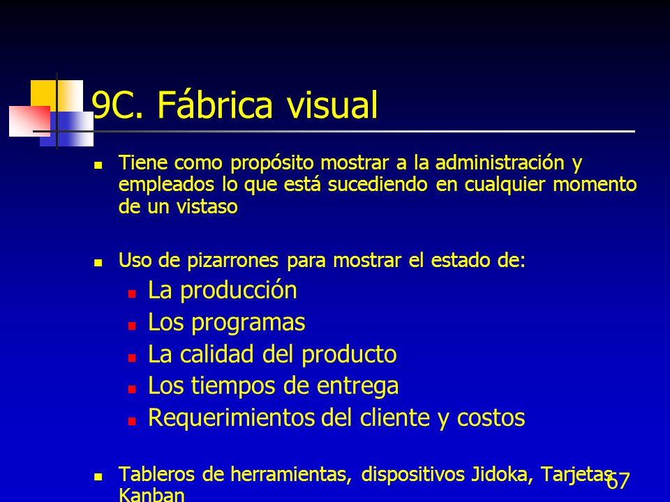 67 9C. Fábrica visual Tiene como propósito mostrar a la administración y empleados lo que está sucediendo en cualquier momento de un vistaso Uso de pi