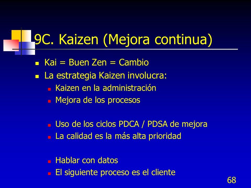 68 9C. Kaizen (Mejora continua) Kai = Buen Zen = Cambio La estrategia Kaizen involucra: Kaizen en la administración Mejora de los procesos Uso de los