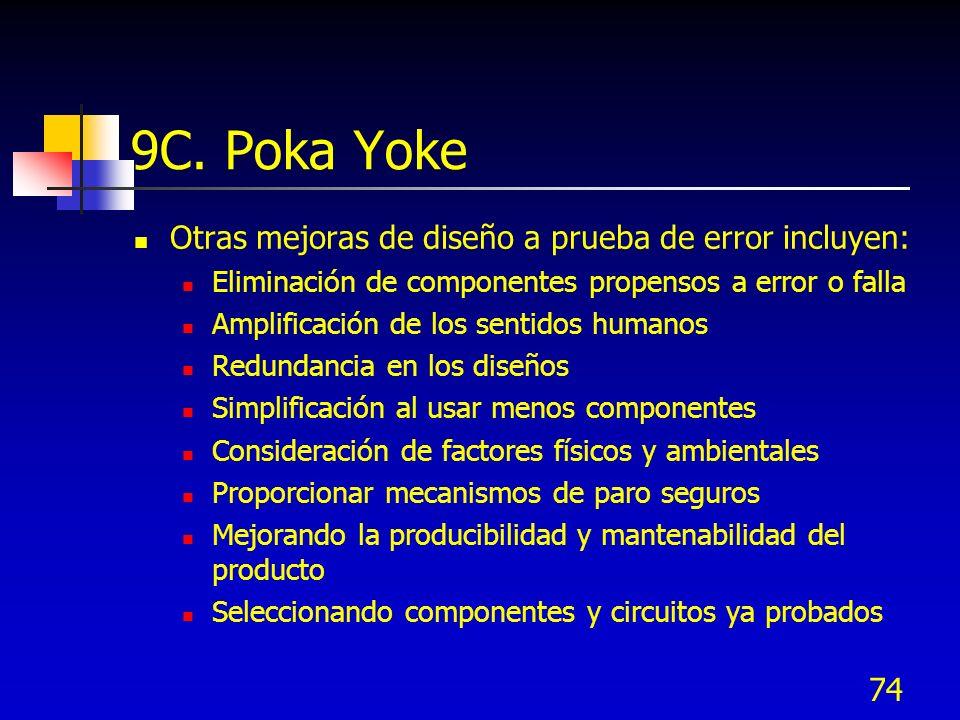 74 9C. Poka Yoke Otras mejoras de diseño a prueba de error incluyen: Eliminación de componentes propensos a error o falla Amplificación de los sentido