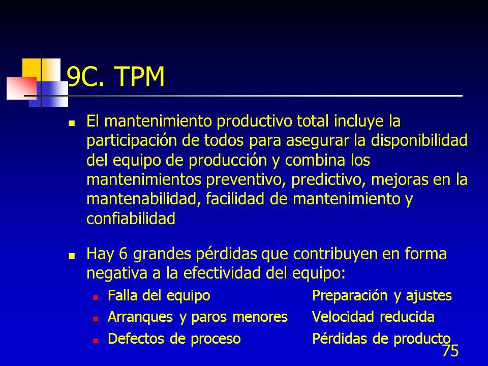 75 9C. TPM El mantenimiento productivo total incluye la participación de todos para asegurar la disponibilidad del equipo de producción y combina los