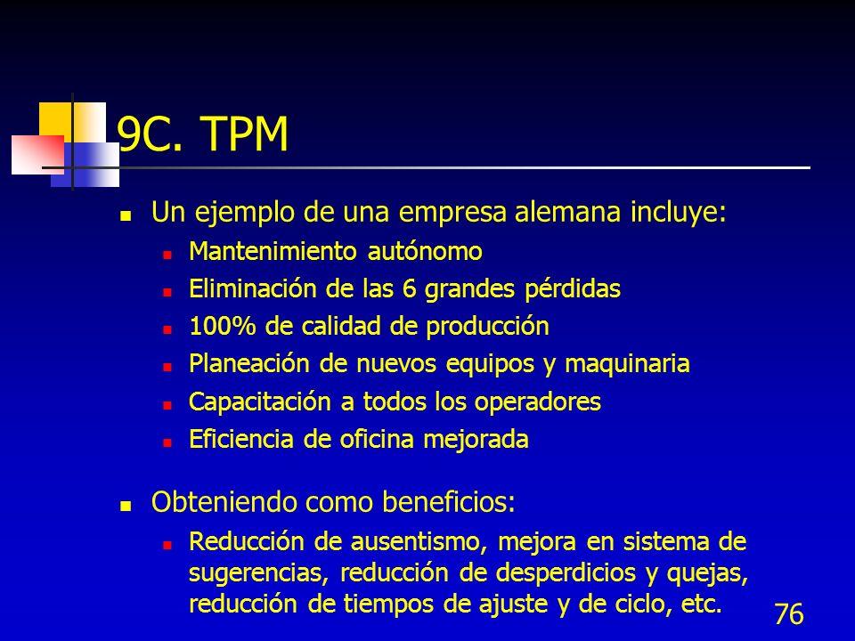 76 9C. TPM Un ejemplo de una empresa alemana incluye: Mantenimiento autónomo Eliminación de las 6 grandes pérdidas 100% de calidad de producción Plane