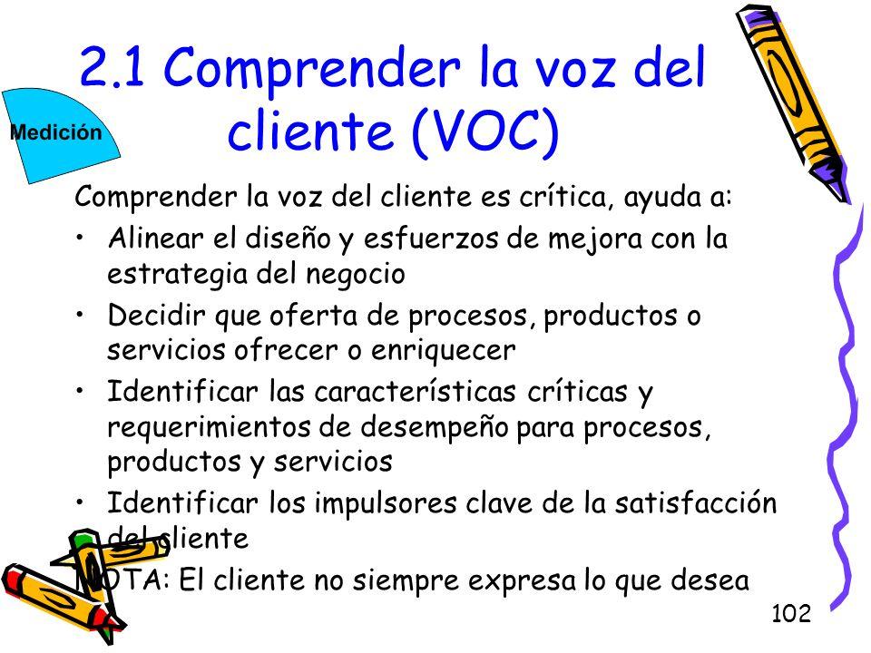 102 2.1 Comprender la voz del cliente (VOC) Comprender la voz del cliente es crítica, ayuda a: Alinear el diseño y esfuerzos de mejora con la estrateg