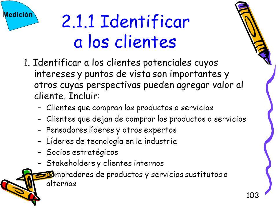 103 2.1.1 Identificar a los clientes 1. Identificar a los clientes potenciales cuyos intereses y puntos de vista son importantes y otros cuyas perspec