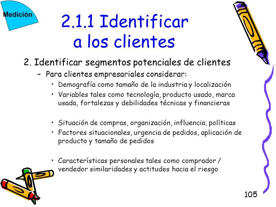 105 2.1.1 Identificar a los clientes 2. Identificar segmentos potenciales de clientes –Para clientes empresariales considerar: Demografía como tamaño