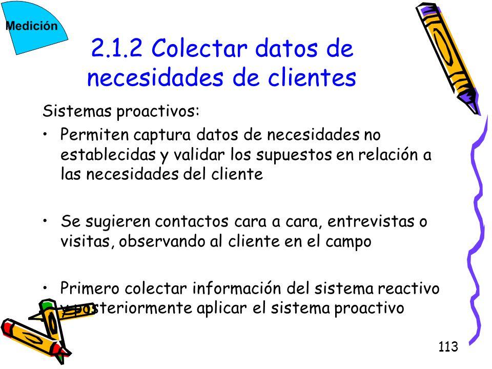 113 2.1.2 Colectar datos de necesidades de clientes Sistemas proactivos: Permiten captura datos de necesidades no establecidas y validar los supuestos