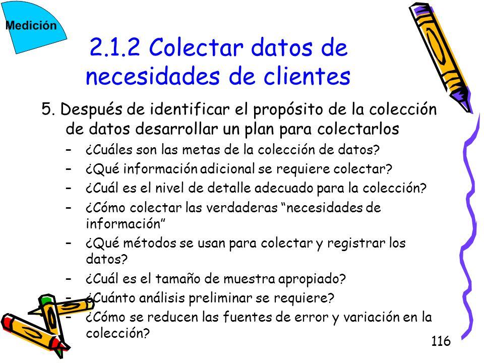116 2.1.2 Colectar datos de necesidades de clientes 5. Después de identificar el propósito de la colección de datos desarrollar un plan para colectarl