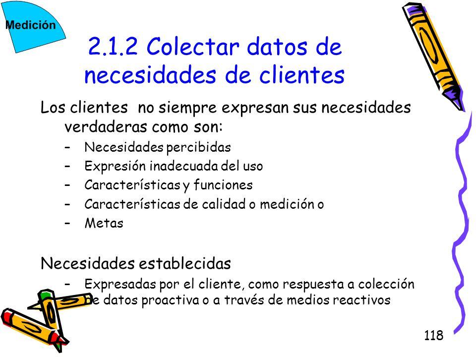 118 2.1.2 Colectar datos de necesidades de clientes Los clientes no siempre expresan sus necesidades verdaderas como son: –Necesidades percibidas –Exp