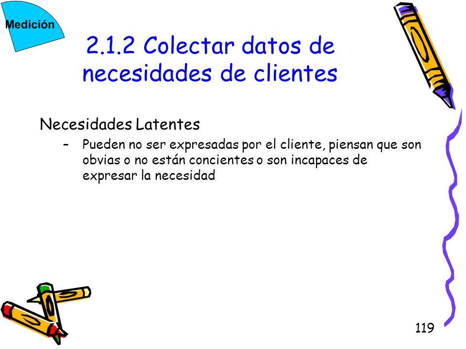 119 2.1.2 Colectar datos de necesidades de clientes Necesidades Latentes –Pueden no ser expresadas por el cliente, piensan que son obvias o no están c