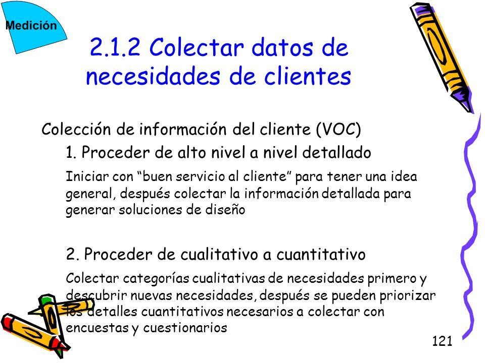 121 2.1.2 Colectar datos de necesidades de clientes Colección de información del cliente (VOC) 1. Proceder de alto nivel a nivel detallado Iniciar con