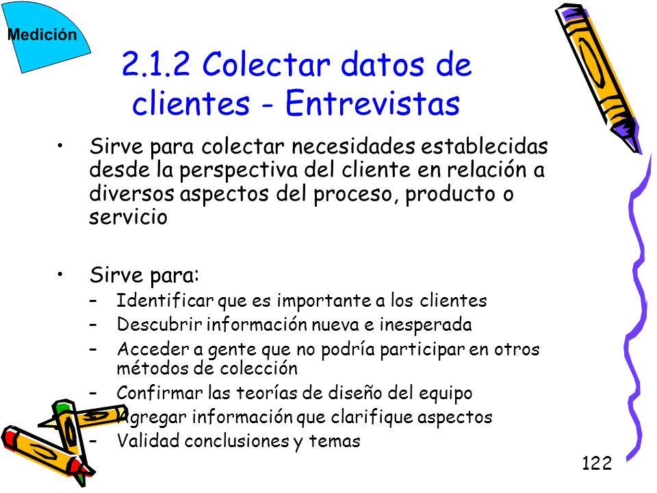 122 2.1.2 Colectar datos de clientes - Entrevistas Sirve para colectar necesidades establecidas desde la perspectiva del cliente en relación a diverso