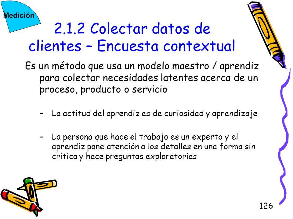 126 2.1.2 Colectar datos de clientes – Encuesta contextual Es un método que usa un modelo maestro / aprendiz para colectar necesidades latentes acerca