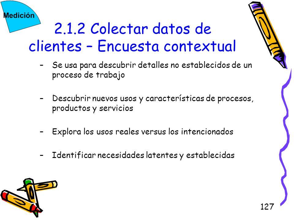 127 2.1.2 Colectar datos de clientes – Encuesta contextual –Se usa para descubrir detalles no establecidos de un proceso de trabajo –Descubrir nuevos