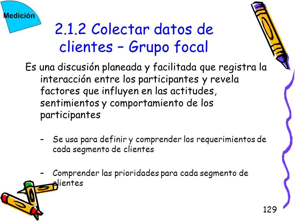 129 2.1.2 Colectar datos de clientes – Grupo focal Es una discusión planeada y facilitada que registra la interacción entre los participantes y revela
